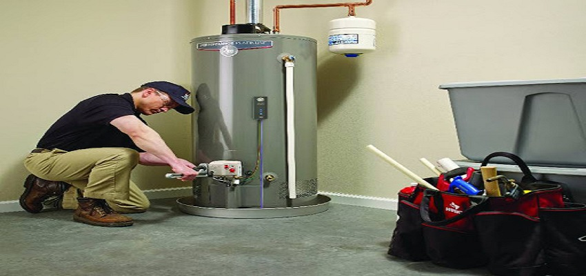 Plumber fixing a faulty water heater